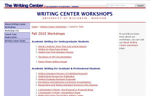 Workshop Listings as seen from the Writing Center's Website