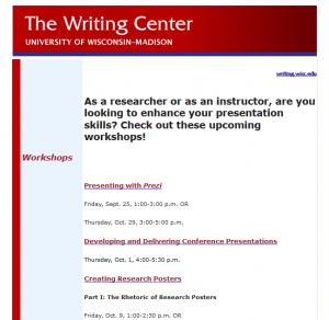 Workshop promotional email