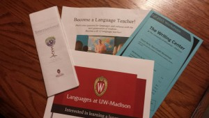 Language learning materials in the German Department with a Writing Center workshop program. Photo credit: Amy Huseby 2015.