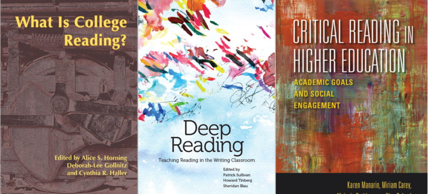 book covers of recent publications on reading in higher ed
