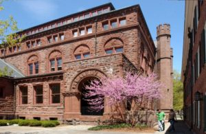 A photo of the exterior of Linsly-Chittenden Hall on a spring day at Yale University.