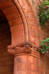 Photo of the upper-right part of the stone archway at Linsly-Chittenden Hall at Yale University.