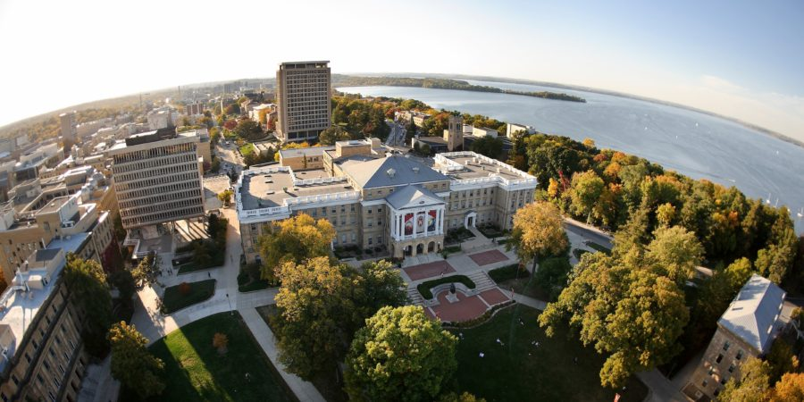 An aerial photo of the campus of the University of Wisconsin-Madison.