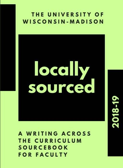 The bright green cover of the 2018-20 edition of the WAC Faculty Sourcebook at UW-Madison.