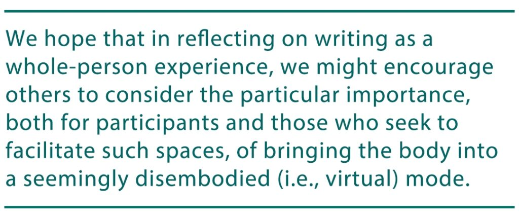 "image contains a pull quote from the article that reads ""We hope that in reflecting on writing as a whole-person experience, we might encourage others to consider the particular importance, both for participants and those who seek to facilitate such spaces, of bringing the body into a seemingly disembodied (i.e., virtual) mode."""