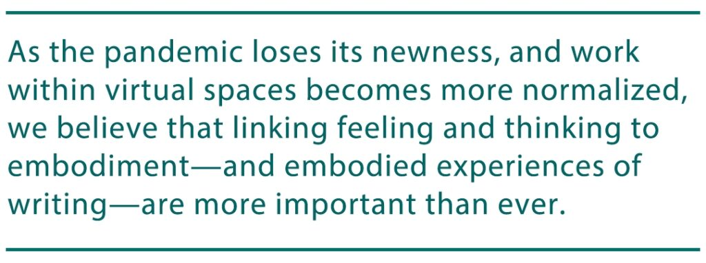 "image contains a pull quote from the article that reads ""As the pandemic loses its newness, and work within virtual spaces becomes more normalized, we believe that linking feeling and thinking to embodiment—and embodied experiences of writing—are more important than ever."""