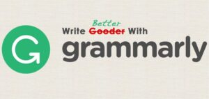"""Grammarly ad with logo and the text """"write gooder with grammarly"""" and the """"gooder"""" crossed out and replaced with """"better"""""""
