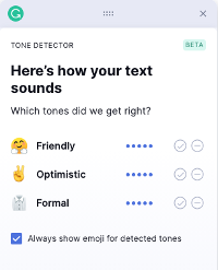 Grammarly's tone detector, rating example text with 5 out of 5 for friendly, optimistic, and formal