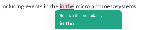 This screenshot shows Grammarly suggesting an accurate edit to remove a typo where I have the same two words twice in a row. Microsoft Word did not catch this typo.
