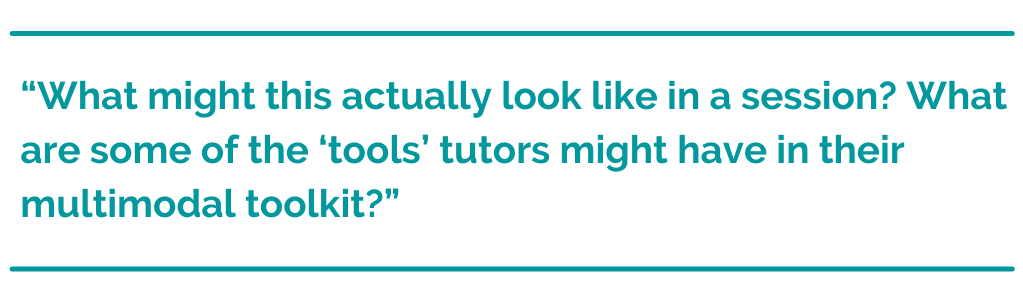 "Pull quote that reads, """"What might this actually look like in a session? What are some of the 'tools' tutors might have in their multimodal toolkit?"""