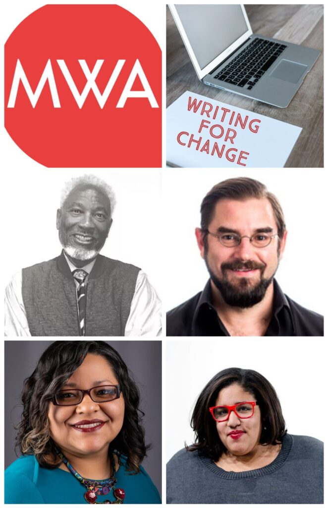 Graphic for Writing For Change with headshots of Liz Boyd, Marisol Gonzalez-Rodriguez, Kevin Mullen and Robert Wynn