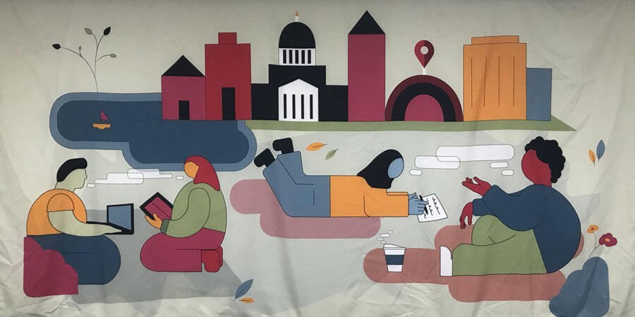 Photo depicts a banner designed by interior architecture student Isabella Robinson for the Writing Center.