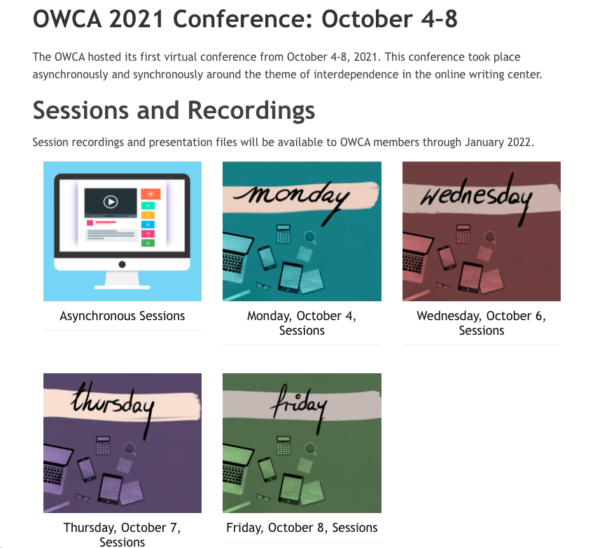 Screen shot of the OWCA 2021 conference page featuring links to each day's recordings