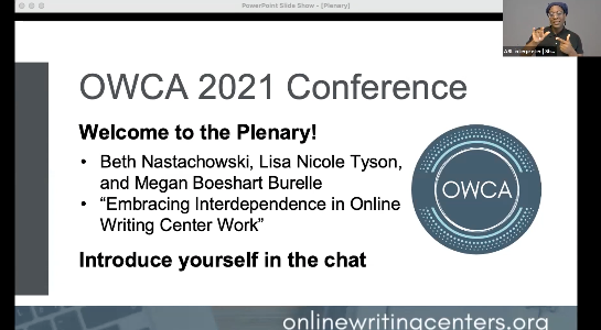 Screen shot of OWCA 2021 plenary address on Zoom. There is a large welcome to the plenary slide and a Black woman using ASL in the top right corner.