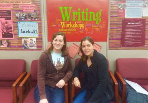 Ambar (right) with a science-writer at the UW-Madison Writing Center.