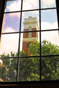 View of Vanderbilt's Kirkland Hall bell tower from the Vanderbilt Writing Studio. (Steve Green / Vanderbilt University)
