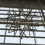 Buckminster Fuller's 500-pound Tensegrity Sphere decorates the entrance to Engineering Centers.