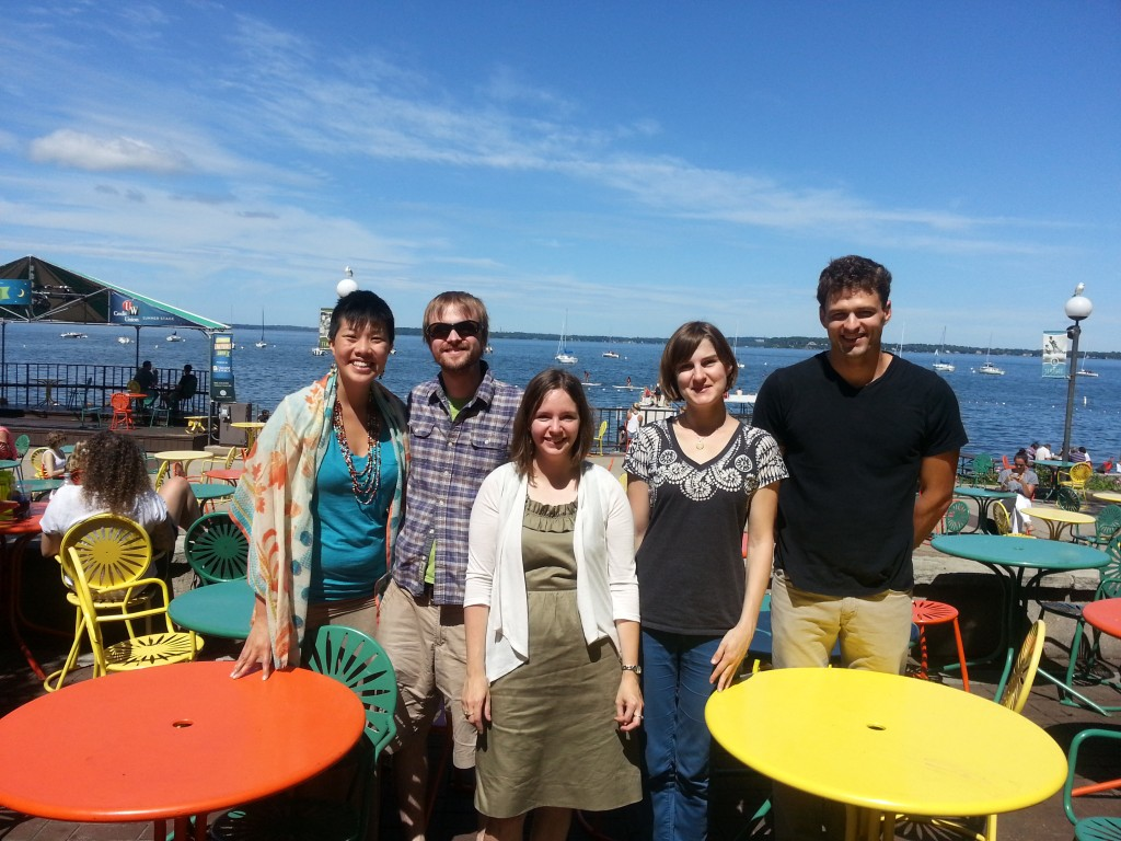 Comm-B TA Fellows on the Terrace, after the August 2014 WAC Training--(from left) Katrina Quisumbing King, Sociology; Josh Pultorek (Zoology); Elisabeth Miller (WAC Assistant Director); Adrienne Hagen (Classics); Christian Dewey (Geography and Environmental Studies)
