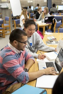 Students at work in the Fredonia Learning Center. Photo by Fredonia Marketing and Communication
