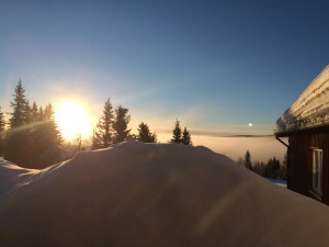 Sunrise and snowdrifts in Lillehammer, the location of the author's fateful fall