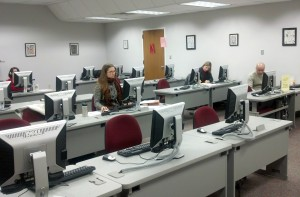 Writers spread out into various writing spaces, including the Writing Center's computer lab.