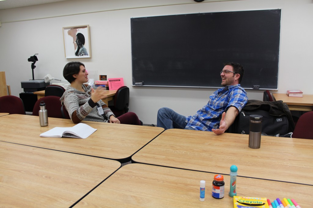 A Writing Center instructor and a diss camper meet to discuss his project