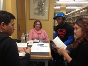 Monday night study group: Jarrett, Nissa, Mike, and Veronica