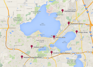 Our one-to-one sessions take place all over Madison. (Created with Google Maps).