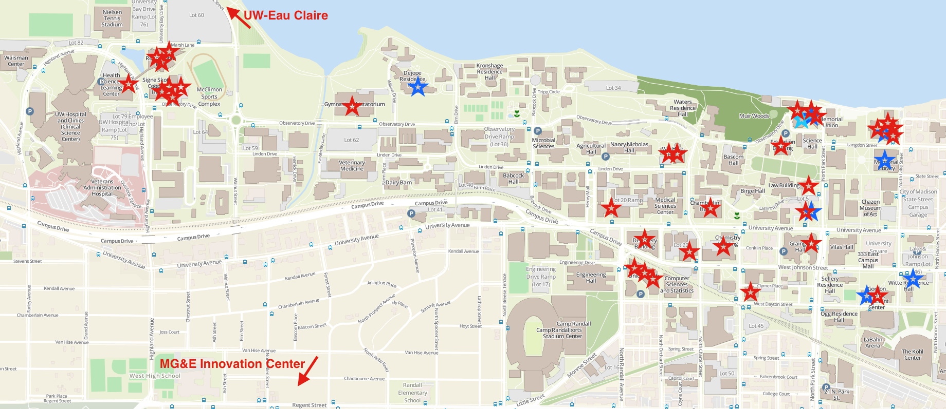 A map of the UW-Madison campus with red stars showing locations where Outreach instruction has occurred in the fall of 2016, as of November 7th. Substantially more of the campus is covered than by satellite locations alone.