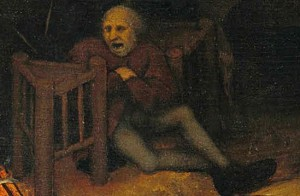 "Detail of ""In the ashes between two stools"" (a proverb that describes indecisiveness) from The Dutch Proverbs by Pieter Brueghel the Elder, public domain United States"