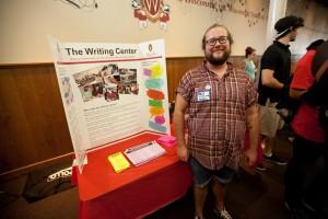 Writing Center Outreach Tutor Neil Simpkins at the LGBTQ Campus Center's Fall Ice Cream Social 2015. Image courtesy of Neil Simpkins.