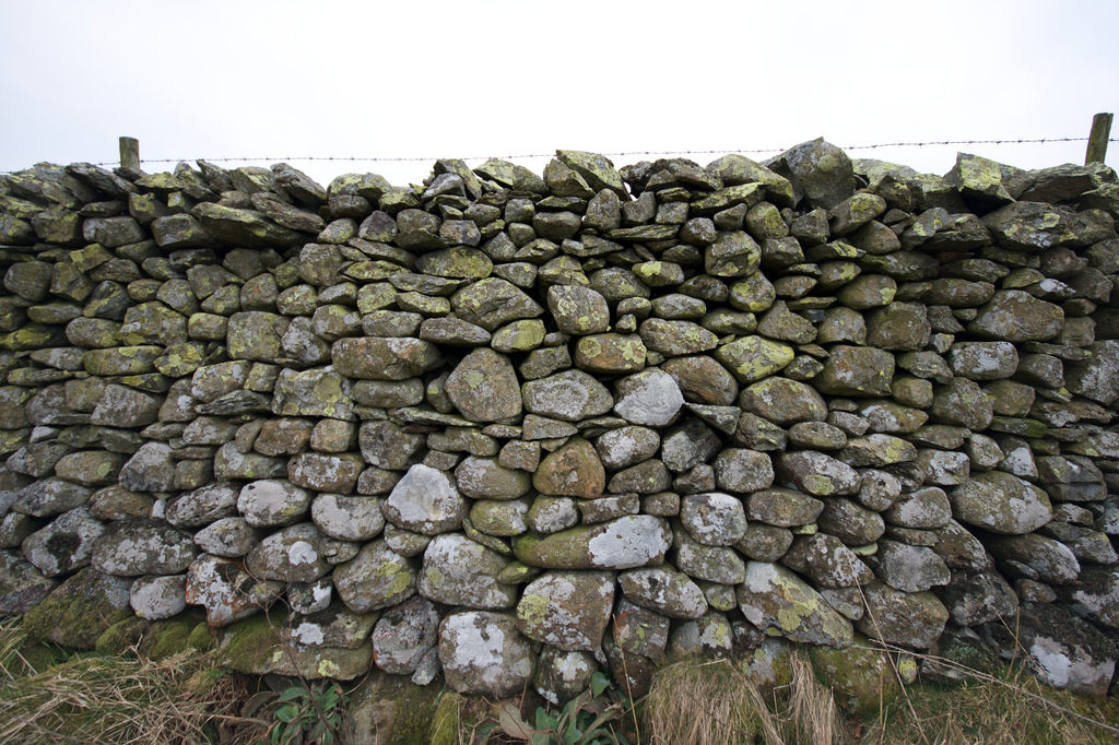 stone wall with barbed wire across the top, from http://www.flickr.com/photos/binaryape/3314028850/