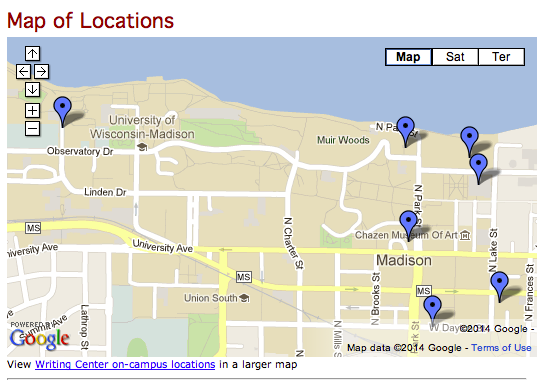 A map of Writing Center satellite locations at UW Madison.