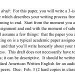 Assignment description of the First Draft of the Writing Process paper