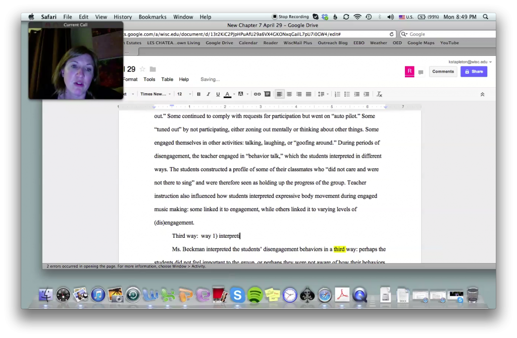 A still from Kristiane Stapleton's screen capture of working with her ongoing student Ruth via Skype and Google Docs.