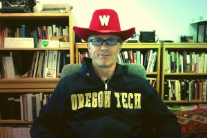 Christopher sporting vintage Wisconsin fan hat (photo by the author).