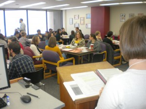 A view from Comm-B Training, January 2014. TAs are hard at work.