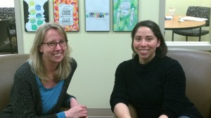 Rebecca (left) and Heather (right) inside the Ott Memorial Writing Center