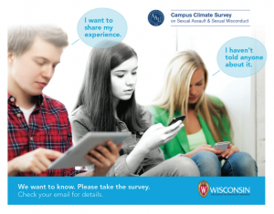 A man in flannel reads on a tablet. A speech bubble above him says I want to share my experiences. A woman reads her phone. To her right a third woman reads her phone and has a speech bubble saying I haven't told anyone about it. Text at the bottom reads We want to know please take the survey