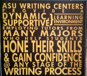 The ASU Writing Center Mission Statement, posted outside our door.