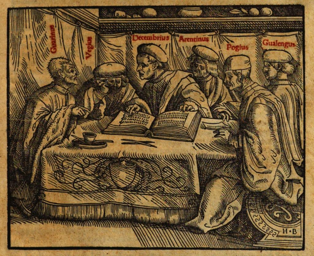 Humanist scholars in debate, Augsburg 1540. (Bayerische Staatsbibliothek München, 7017313 Res/2 Enc. 8 7017313 Res/2 Enc. 8, http://www.mdz-nbn-resolving.de/urn/resolver.pl?urn=urn:nbn:de:bvb:12-bsb10196669-3)