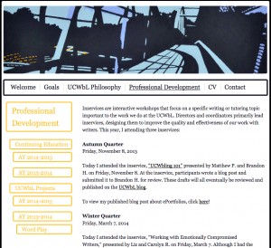 My UCWbL ePortfolio professional development section