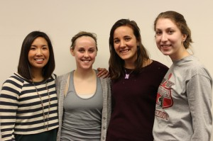 The WMC's fabulous crew of engineers.  From left to right: Szuyin Leow, Chloe Ward, Megan Hingtgen, and Kate Krezowski