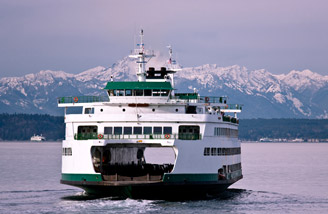 A ferry between Seattle and Bainbridge Island