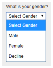 a drop-down menu with the items select gender, male, female, and decline