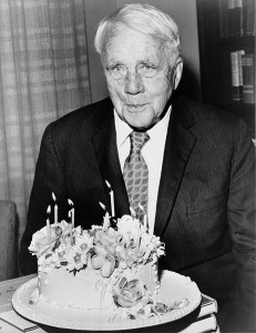 Robert Frost celebrates his 85th birthday.
