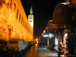 "The Umayyad Mosque in the Old City of Damascus, Syria at night. The Jesus Minaret is in the background. The Umayyad Mosque has survived many ""Great Games"" since being built in the 7th Century. It is sure to survive the Great Game currently being played in Syria. It is believed that a shrine inside the mosque contains the head of John the Baptist, venerated by Shi'a, Sunni, and Christians alike.  Photo taken by author (2008)."