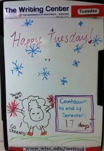 Our whiteboard (updated daily by one of our receptionists)