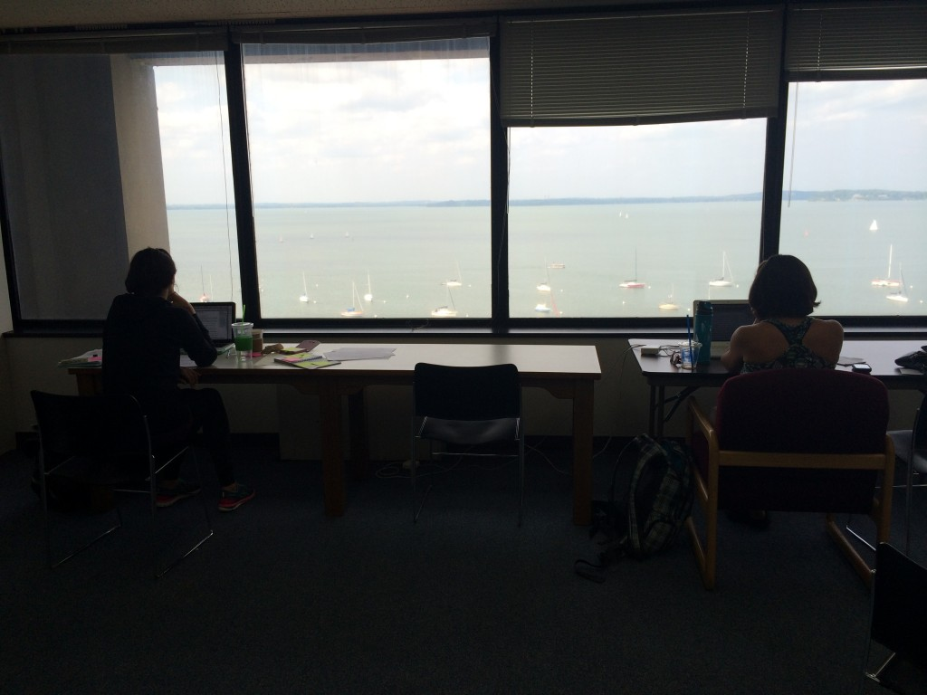 Writers look out over Lake Mendota this August. Photo by Sarah Groeneveld.