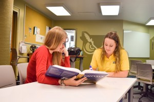 Peer consultant and student discussing and writing about calculus assignment (photo courtesy of Oregon Tech Marketing Department).